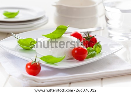 Fresh mozzarella with cherry tomatoes and basil - stock photo