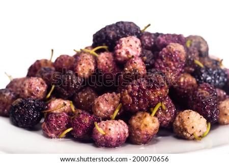 Fresh Mulberry  isolated on white background - stock photo