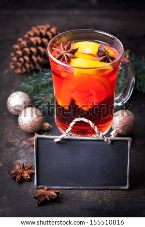 fresh mulled wine with empty label and copy space  - stock photo