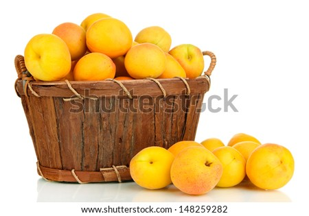 Fresh natural apricot in basket isolated on white - stock photo