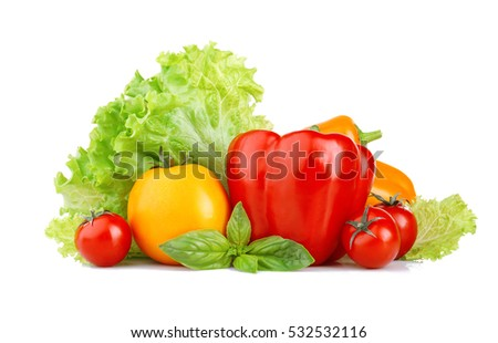 Fresh natural ingredients for salad isolated on white