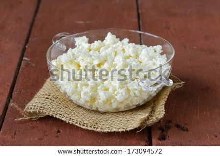 Fresh natural organic cottage cheese in a glass bowl - stock photo