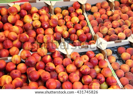Fresh nectarines and peaches at a market in the Provence, France