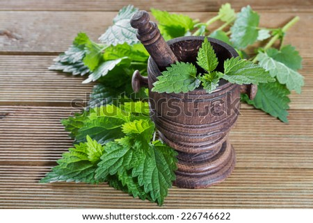 fresh nettle leaves with a mortar on a wooden background - stock photo
