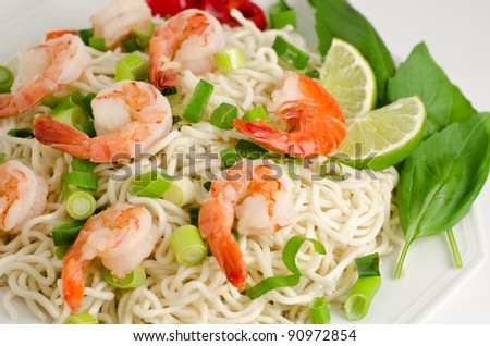 Fresh noodle with shimp on a white background - stock photo