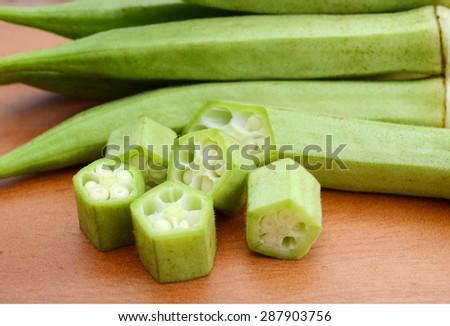 fresh okra - stock photo
