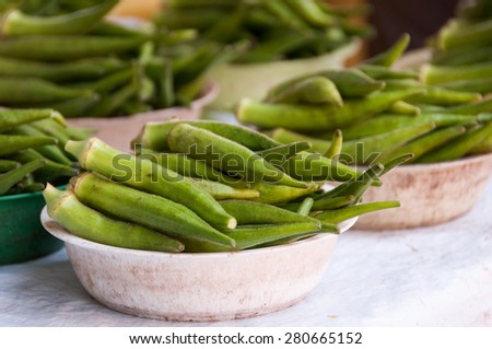 Fresh Okra for Sale in the Market - stock photo