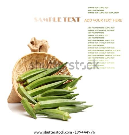 fresh okra isolated on a white background  - stock photo