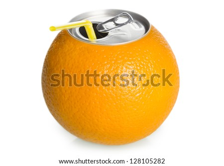 Fresh orange can juice with straw isolated on white background, concept.