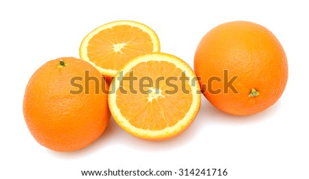 fresh orange fruit on white background  - stock photo