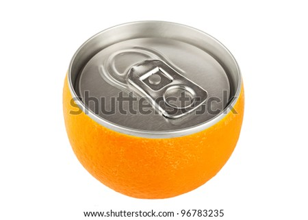 Fresh orange fruit with can on the white background. Diet concept - stock photo