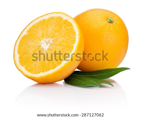 Fresh Orange fruit with half and leaves isolated on white background - stock photo