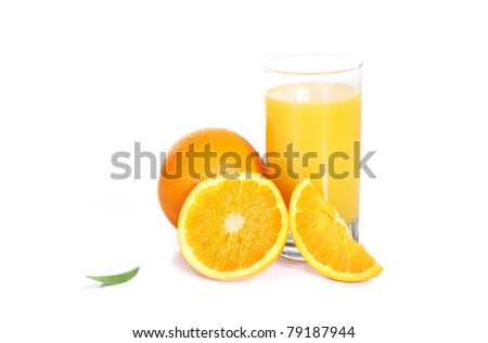 Fresh orange juice isolated on white background