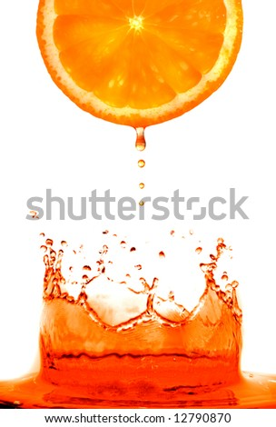 Fresh orange jumping into water with a splash - stock photo