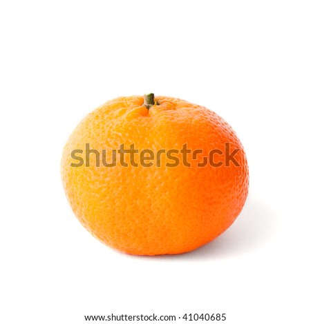 Fresh orange mandarin over isolated white background - stock photo