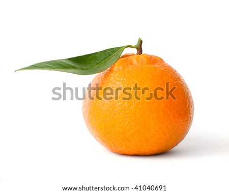 Fresh orange mandarin over isolated white background
