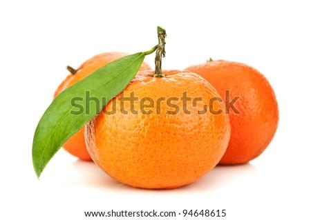 fresh orange mandarins isolated on a white background - stock photo