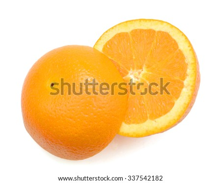 fresh orange on white background  - stock photo