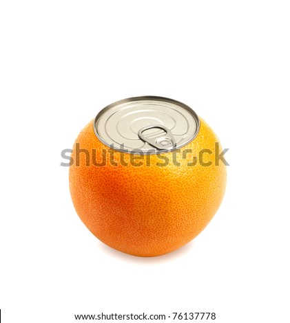 Fresh orange over white Can fruit concept.