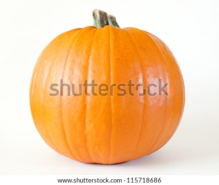 Fresh orange pumpkin isolated on white background - stock photo