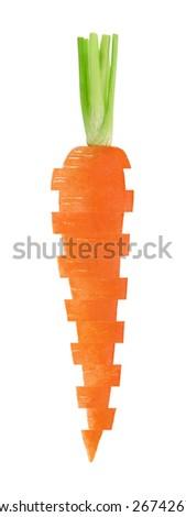 Fresh orange sliced carrot isolated on a white background  - stock photo