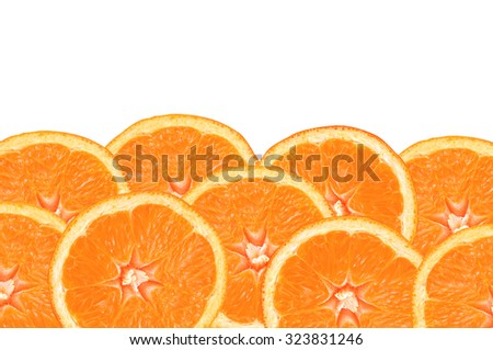 fresh orange slices on white background - stock photo