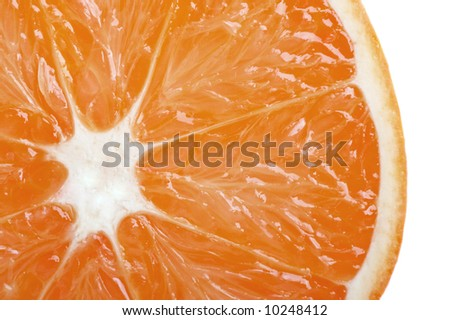 Fresh orange slide closeup isolated on white - stock photo