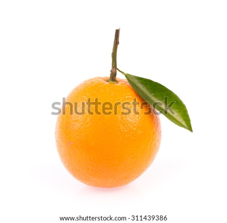 Fresh orange with leaves isolated on white background
