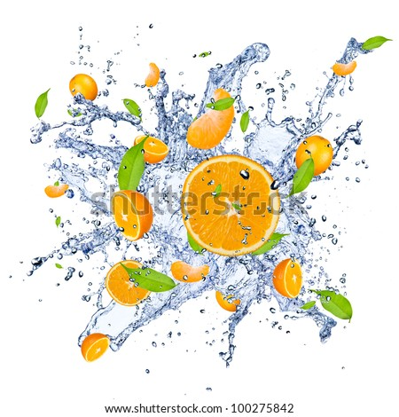Fresh oranges falling in water splash , isolated on white background - stock photo