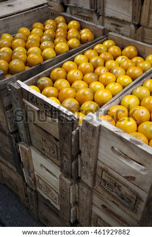 Fresh oranges in wooden boxes at the Municipal Market in Sao Paulo, Brazil.