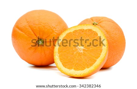 fresh oranges on white background  - stock photo