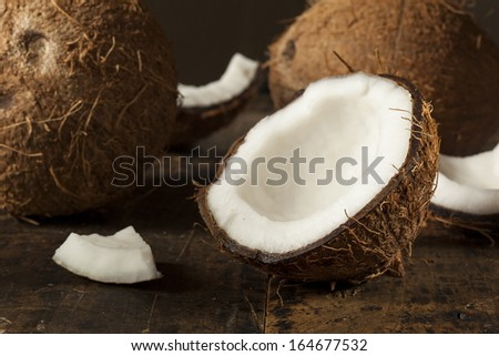 Fresh Organic Brown Coconut with White Flesh - stock photo