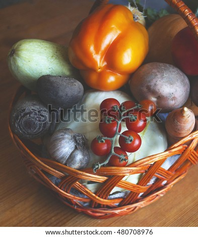 Fresh Organic Food Background Vegetables in the Basket