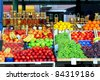 Fresh organic fruits at farmers market stall - stock photo
