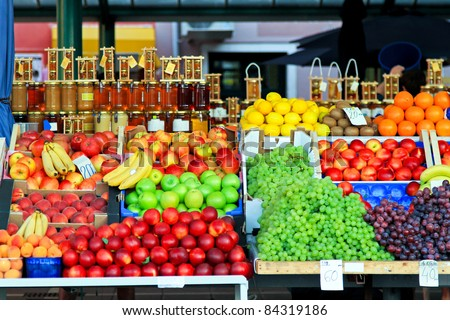 Fresh organic fruits at farmers market stall