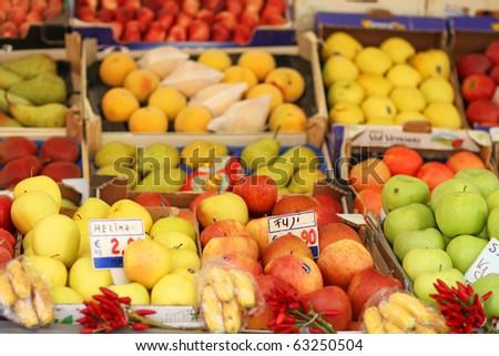 fresh organic fruits at the open market i nItaly - stock photo