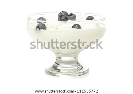 Fresh Organic Greek Yogurt with blueberries on a background - stock photo