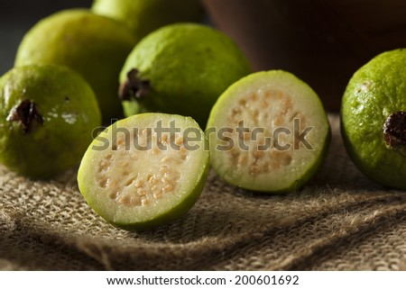 Fresh Organic Green Guava on a Background