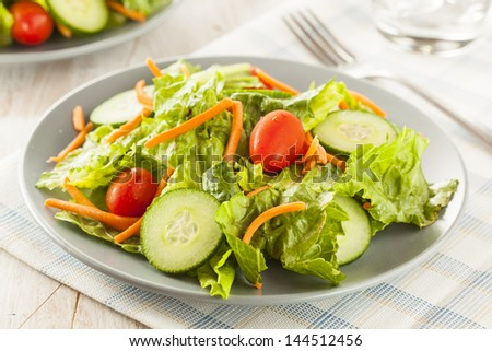 Fresh Organic Green Salad with Carrots and Cucumbers