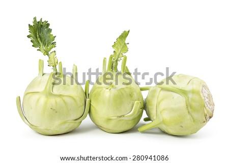 Fresh organic kohlrabi isolated on white - stock photo