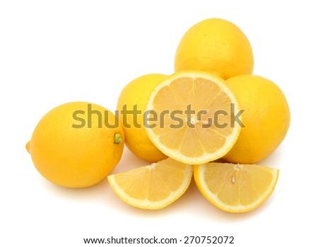 fresh organic lemons on white background  - stock photo