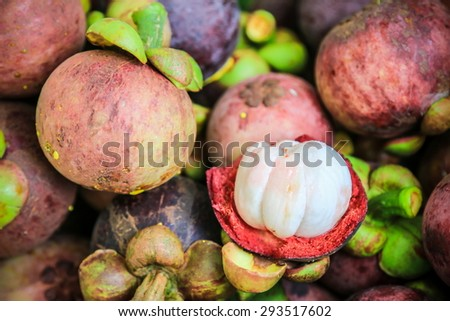 Fresh organic mangosteen Thai fruit in market thailand. - stock photo