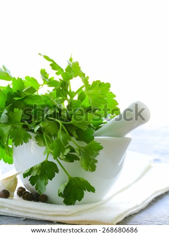 Fresh organic parsley in a marble mortar
