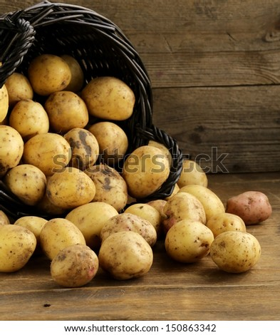 fresh organic potatoes on a wooden background, rustic style - stock photo