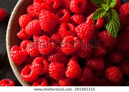 Fresh Organic Raw Raspberries in a Bowl - stock photo