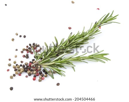 Fresh organic rosemary and pepper isolated on white  - stock photo