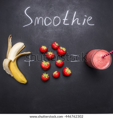 Fresh organic Smoothie ingredients, Superfoods and healthy lifestyle or detox diet food concept strawberry and banana - stock photo