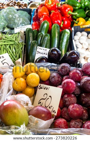 Fresh organic vegetables and fruit at the city market - stock photo