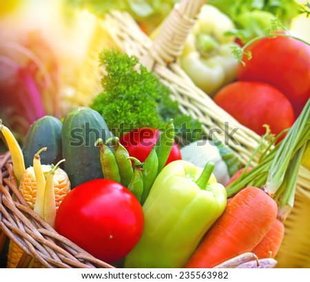 Fresh organic vegetables in wicker baskets - stock photo