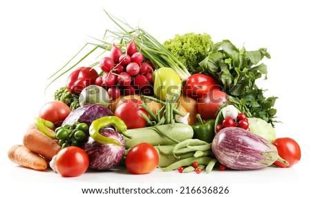 Fresh organic vegetables, isolated on white - stock photo